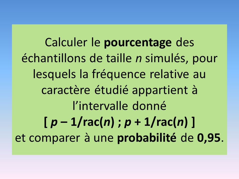 Calculer le pourcentage des échantillons de taille n simulés, pour lesquels la fréquence relative au caractère étudié appartient à l'intervalle donné [ p – 1/rac(n) ; p + 1/rac(n) ] et comparer à une probabilité de 0,95.